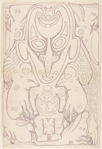An image of Serampam, a spirit figure associated with initiation rituals by Simon Nowep