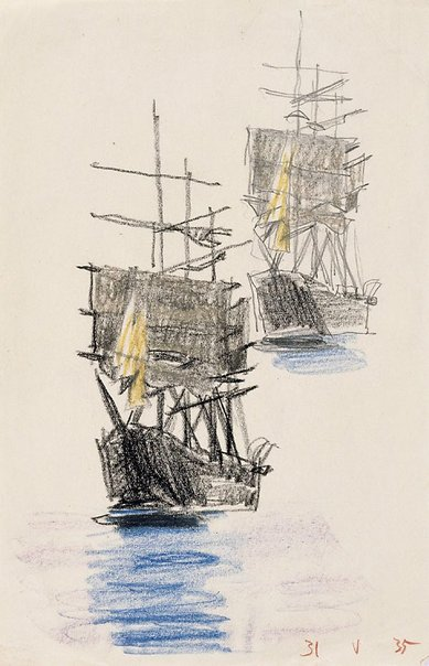 An image of (Two studies of a three masted ship) by Lyonel Feininger