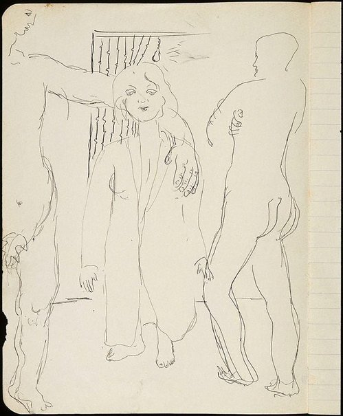 An image of Two male nudes and woman in coat by David Strachan