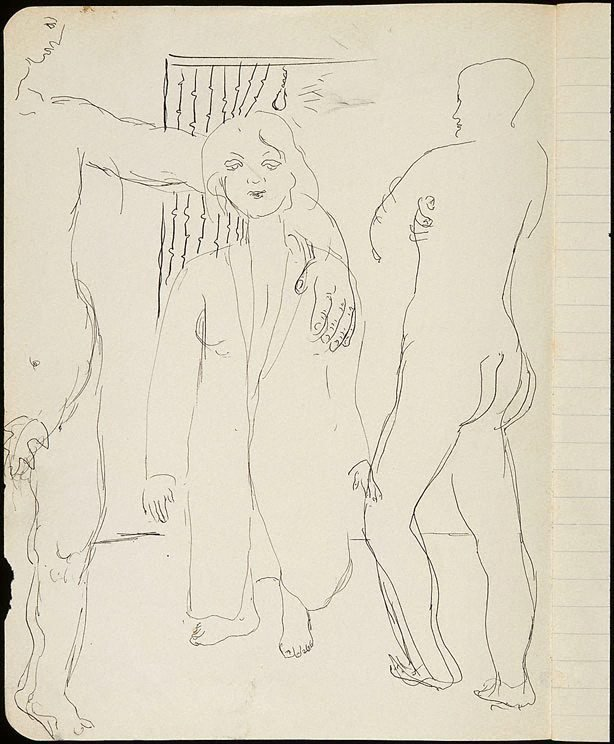 An image of Two male nudes and woman in coat