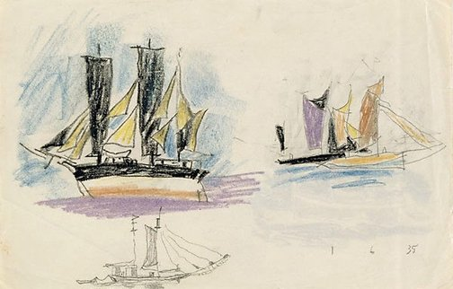 An image of (Studies of ships) by Lyonel Feininger