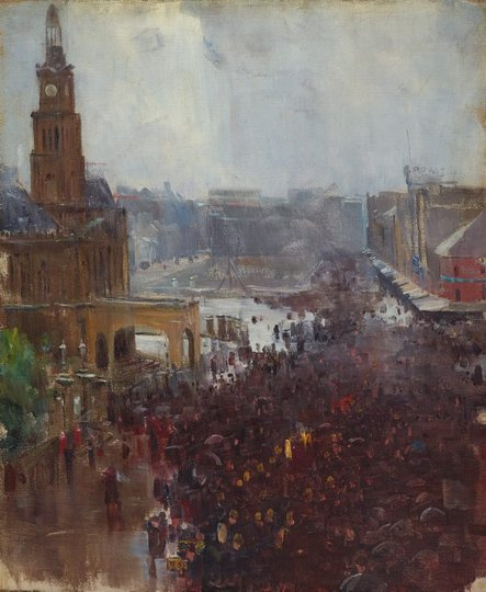 AGNSW collection Arthur Streeton Fireman's funeral, George Street (1894) 43.1980