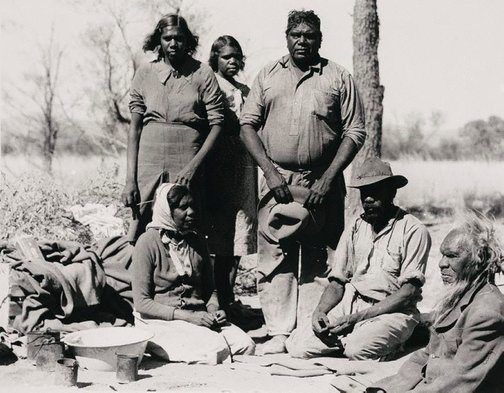 An image of Albert Namatjira and his family by Axel Poignant