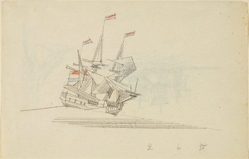An image of (A three-masted ship flying Netherlands flags) by Lyonel Feininger
