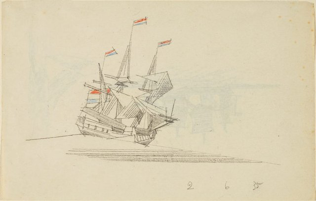 An image of (A three-masted ship flying Netherlands flags)
