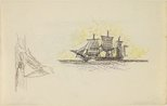 Alternate image of (A three-masted ship flying Netherlands flags) by Lyonel Feininger