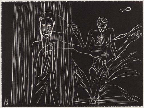 An image of untitled (two figures bathing) by Mimmo Paladino