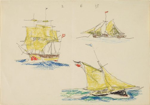An image of (Studies of three ships) by Lyonel Feininger
