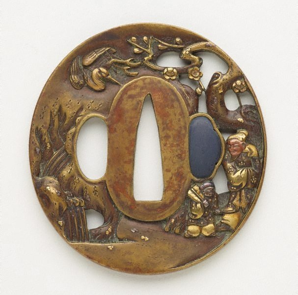 An image of tsuba (with pierced design of old man and his young attendant in a landscape with a plum tree, waterfall and a crane in flight)