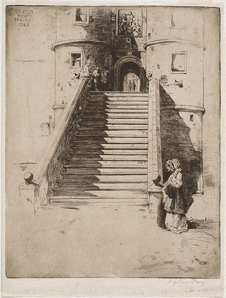 An image of The stairs, Rowallan, Scotland by Sir David Young Cameron