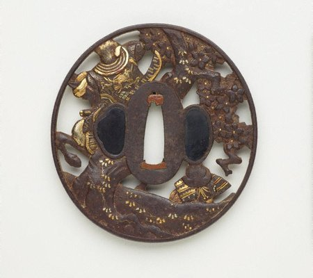 Alternate image of tsuba (with pierced design of two samurai, one on a horse and another on the ground, under a blossoming tree) by MOGARASHI Sôten