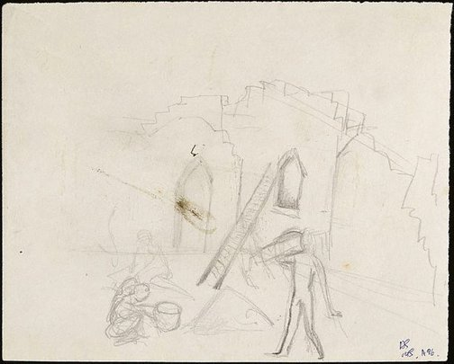 An image of Figure outside buildings (figure on a stage set?) by David Strachan
