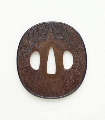 Alternate image of Sword guard ('tsuba') with design of bat and cobweb by