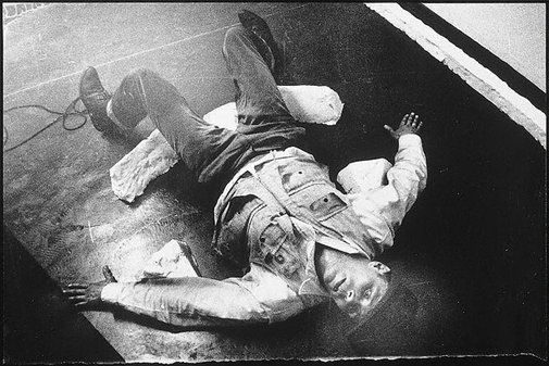 An image of Joseph Beuys in the Action 'Mainstream' by Ute Klophaus, Joseph Beuys