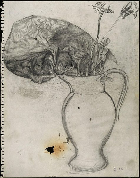 An image of recto: Flowers and abstract form in a vase verso: (Flowers and abstract form in a vase) by David Strachan