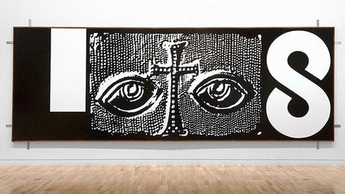 An image of detail  A Person Looks At A Work Of Art/ someone looks at something...  LOGOS/ HA HA by Peter Tyndall