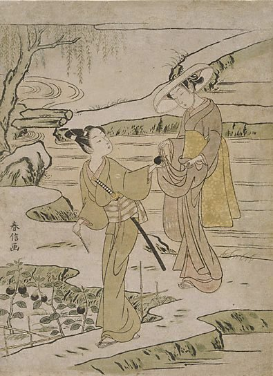 An image of (Lovers in an eggplant field) by Harunobu