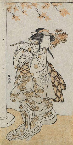 An image of Onnagata Nakamura Noshio dancing in the role of a fox-girl by Katsukawa SHUNKÔ