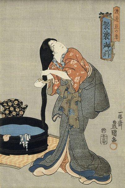 An image of Lady Kesa, wife of Watanabe Wataru by Utagawa Kunisada/Toyokuni III