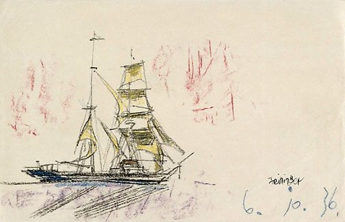 An image of (A ship, sailing to the right) by Lyonel Feininger