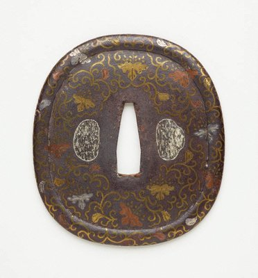 Alternate image of tsuba (with paulownia and karakusa pattern design) by