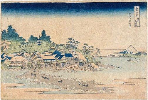 An image of Enoshima in Sagami Province by Hokusai Katsushika