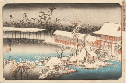 An image of Snow at the Tenmangû compound, Kameido by Hiroshige Andô/Utagawa