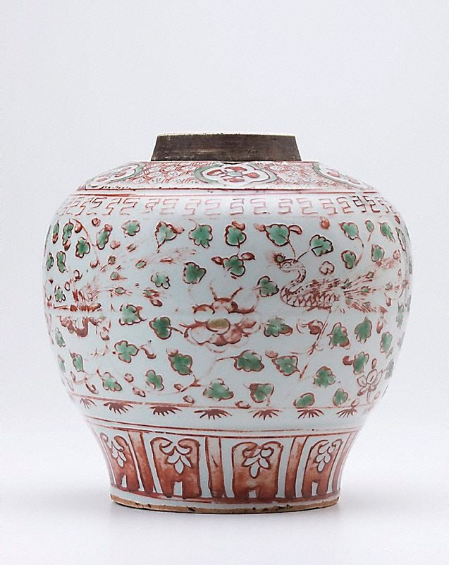 An image of Jar decorated with enamels with design of phoenix and peonies