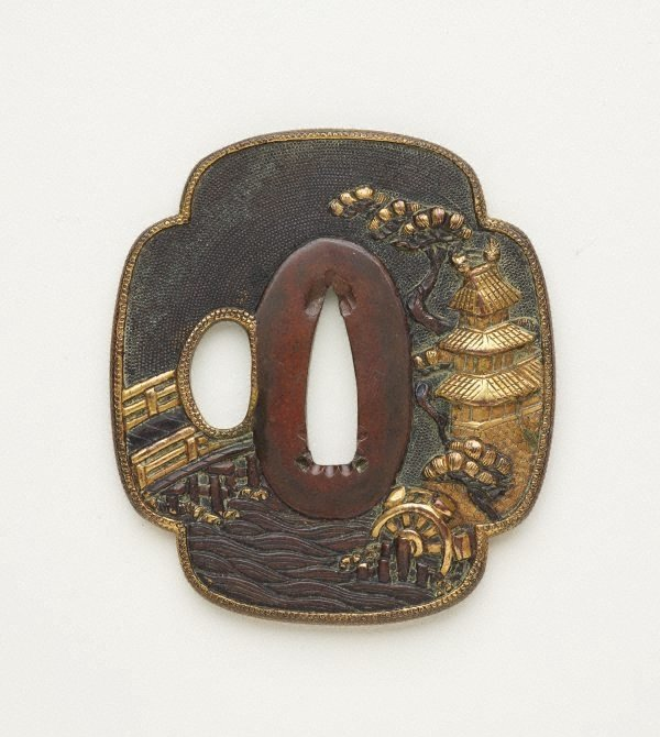 An image of Quatrefoil-shaped sword guard ('tsuba') with design of landscape with castle, pine tree, mill and bridge