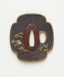 Alternate image of Quatrefoil-shaped sword guard ('tsuba') with design of landscape with castle, pine tree, mill and bridge by