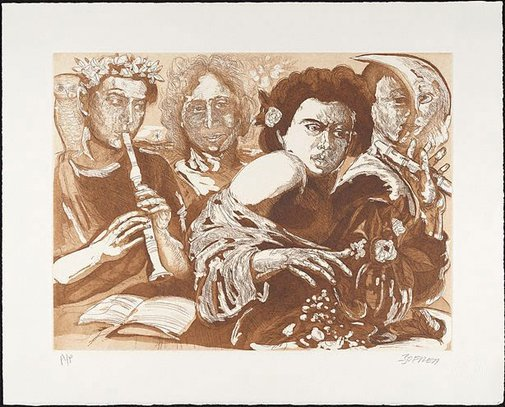An image of Homage to Caravaggio by Salvatore Zofrea