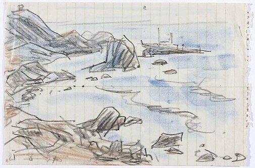 An image of (Rocky coastline, California) by Lyonel Feininger