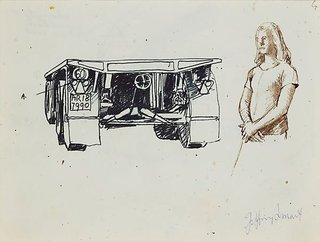 AGNSW collection Jeffrey Smart Drawings for 'Truck and trailer approaching a city' 1972