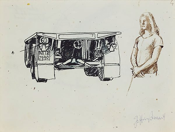 Drawings for 'Truck and trailer approaching a city', 1972 by Jeffrey Smart