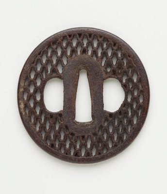 Alternate image of tsuba (with pierced net design) by