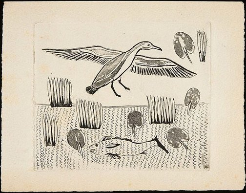 An image of Untitled (bird flying over pond with fish) by David Strachan