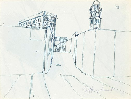 An image of Drawing for 'Central Station II' by Jeffrey Smart