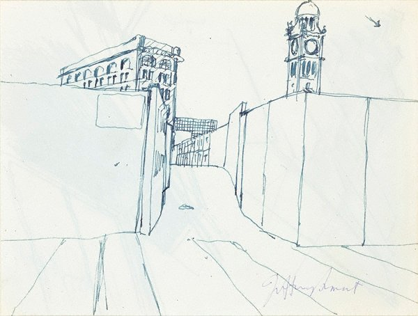 AGNSW collection Jeffrey Smart Drawing for 'Central Station II' 1973