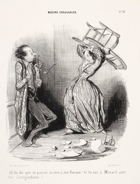 An image of Ah! You say that you spent the night at your office!... by Honoré Daumier