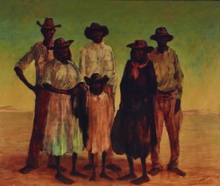 AGNSW collection Russell Drysdale (Group of Aboriginal people) 1953