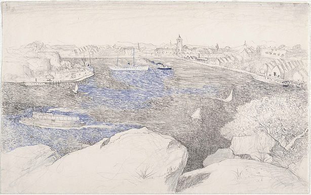 An image of recto: Drawing for 'Dusk on the harbour' verso: [wax impressions]