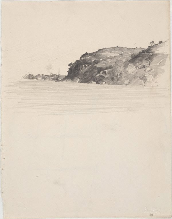 An image of recto: Ball's Head, Sydney Harbour verso: A sketch of the Sobraon