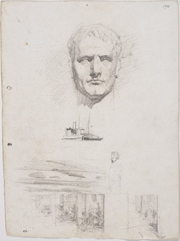 An image of recto: Head of Napoleon from a cast and Small drawings - two boats, façades of towered building verso: Man in a hat and Man's face