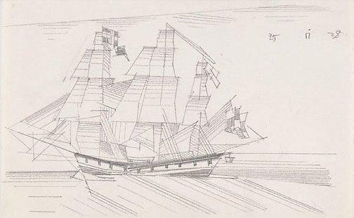 An image of (Three masted ship at sea) by Lyonel Feininger