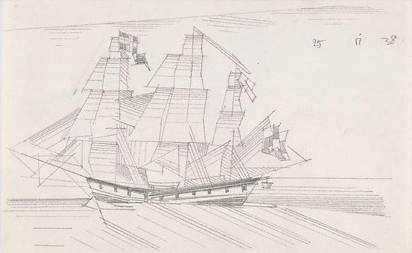 An image of (Three masted ship at sea)