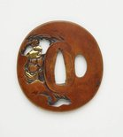 Alternate image of Sword guard ('tsuba') with openwork design of man reading and a bull by