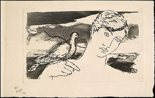 An image of Christmas card with figure and bird by David Strachan