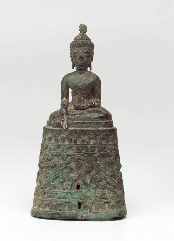 An image of Figure of the Buddha seated on a high ornate base, with his right hand in the earth-touching gesture ('bhumisparsha mudra')