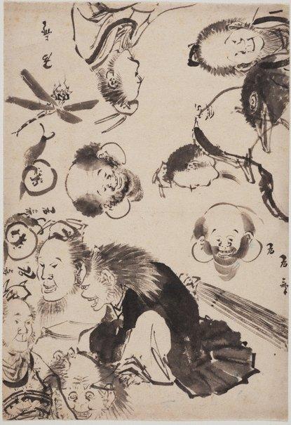 An image of (Sheet of sketches) by Isai Katsushika