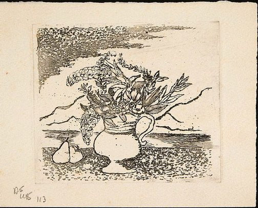 An image of Christmas card with vase of flowers in front of landscape by David Strachan